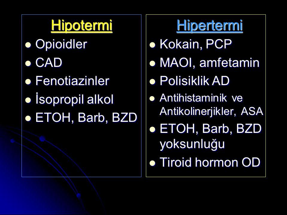 Hipotermi Opioidler Opioidler CAD CAD Fenotiazinler Fenotiazinler İsopropil alkol İsopropil alkol ETOH, Barb, BZD ETOH, Barb, BZD Hipertermi Kokain, PCP Kokain, PCP MAOI, amfetamin MAOI, amfetamin Polisiklik AD Polisiklik AD Antihistaminik ve Antikolinerjikler, ASA Antihistaminik ve Antikolinerjikler, ASA ETOH, Barb, BZD yoksunluğu ETOH, Barb, BZD yoksunluğu Tiroid hormon OD Tiroid hormon OD