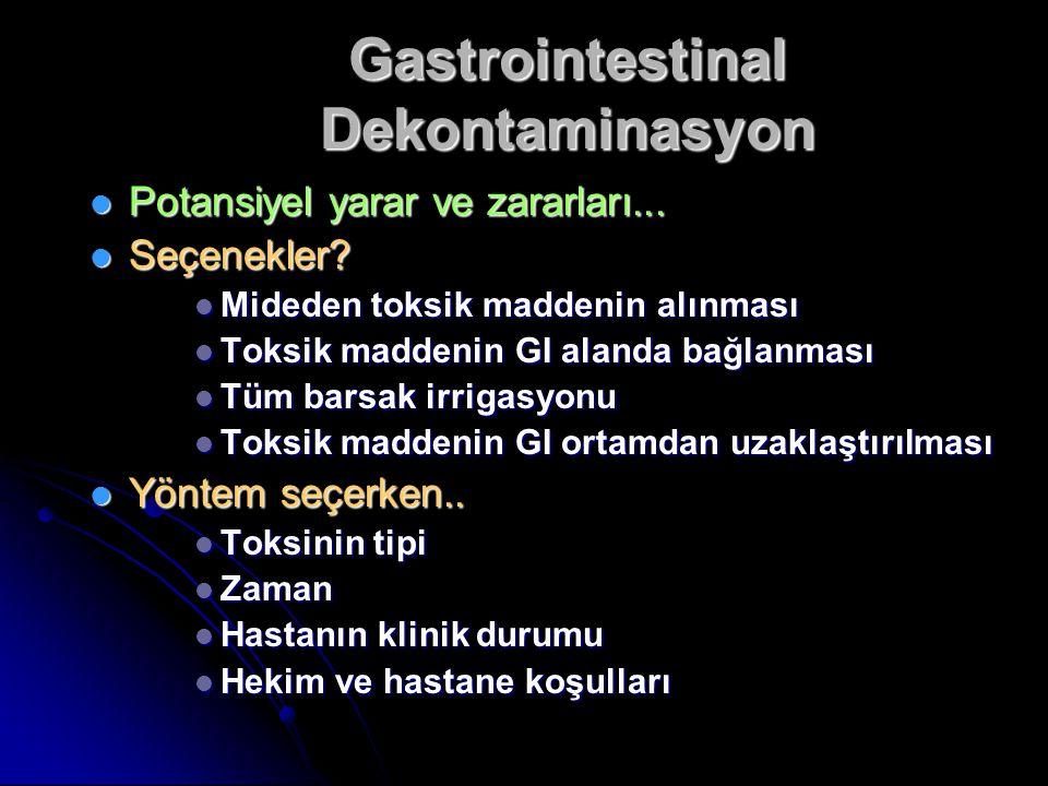 Gastrointestinal Dekontaminasyon Potansiyel yarar ve zararları...