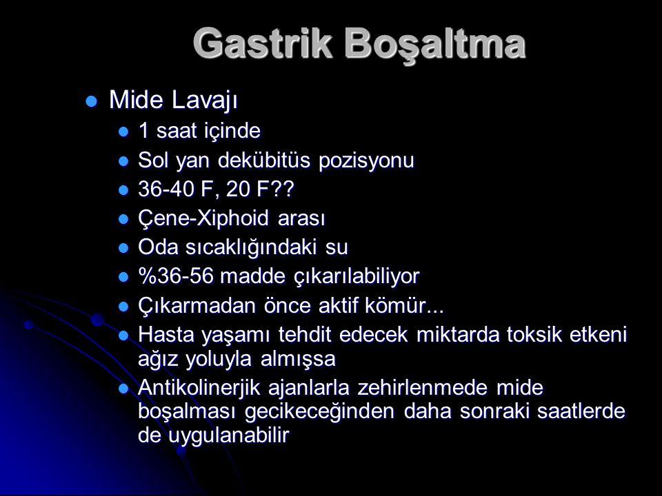 Gastrik Boşaltma Mide Lavajı Mide Lavajı 1 saat içinde 1 saat içinde Sol yan dekübitüs pozisyonu Sol yan dekübitüs pozisyonu 36-40 F, 20 F?.