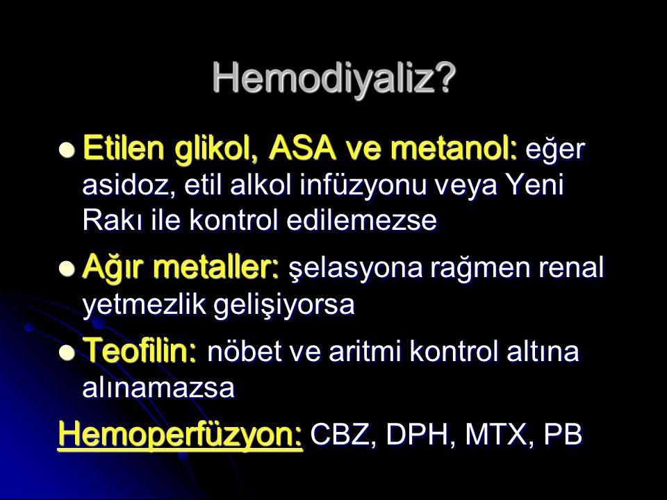 Etilen glikol, ASA ve metanol: eğer asidoz, etil alkol infüzyonu veya Yeni Rakı ile kontrol edilemezse Etilen glikol, ASA ve metanol: eğer asidoz, etil alkol infüzyonu veya Yeni Rakı ile kontrol edilemezse Ağır metaller: şelasyona rağmen renal yetmezlik gelişiyorsa Ağır metaller: şelasyona rağmen renal yetmezlik gelişiyorsa Teofilin: nöbet ve aritmi kontrol altına alınamazsa Teofilin: nöbet ve aritmi kontrol altına alınamazsa Hemoperfüzyon: CBZ, DPH, MTX, PB Hemodiyaliz?