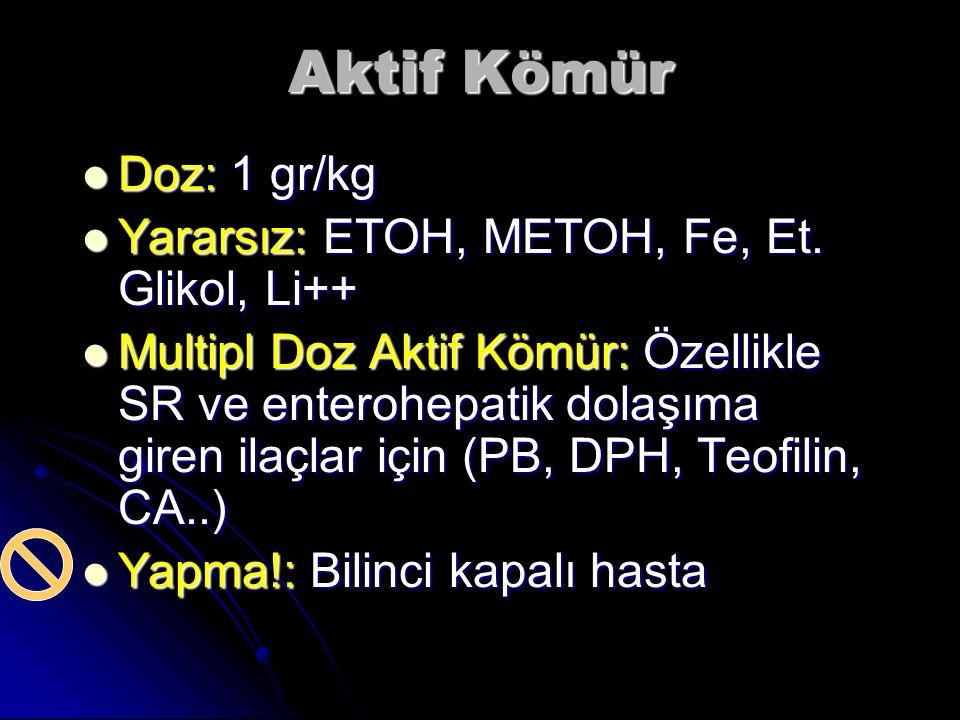 Aktif Kömür Doz: 1 gr/kg Doz: 1 gr/kg Yararsız: ETOH, METOH, Fe, Et.