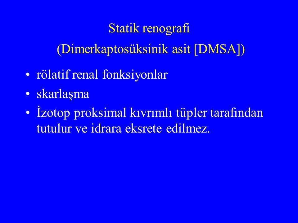 Statik renografi (Dimerkaptosüksinik asit [DMSA]) rölatif renal fonksiyonlar skarlaşma İzotop proksimal kıvrımlı tüpler tarafından tutulur ve idrara e