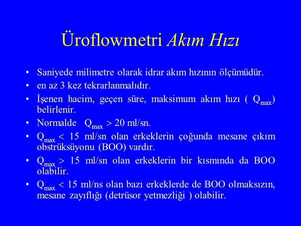 Üroflowmetri Akım Hızı Saniyede milimetre olarak idrar akım hızının ölçümüdür. en az 3 kez tekrarlanmalıdır. İşenen hacim, geçen süre, maksimum akım h