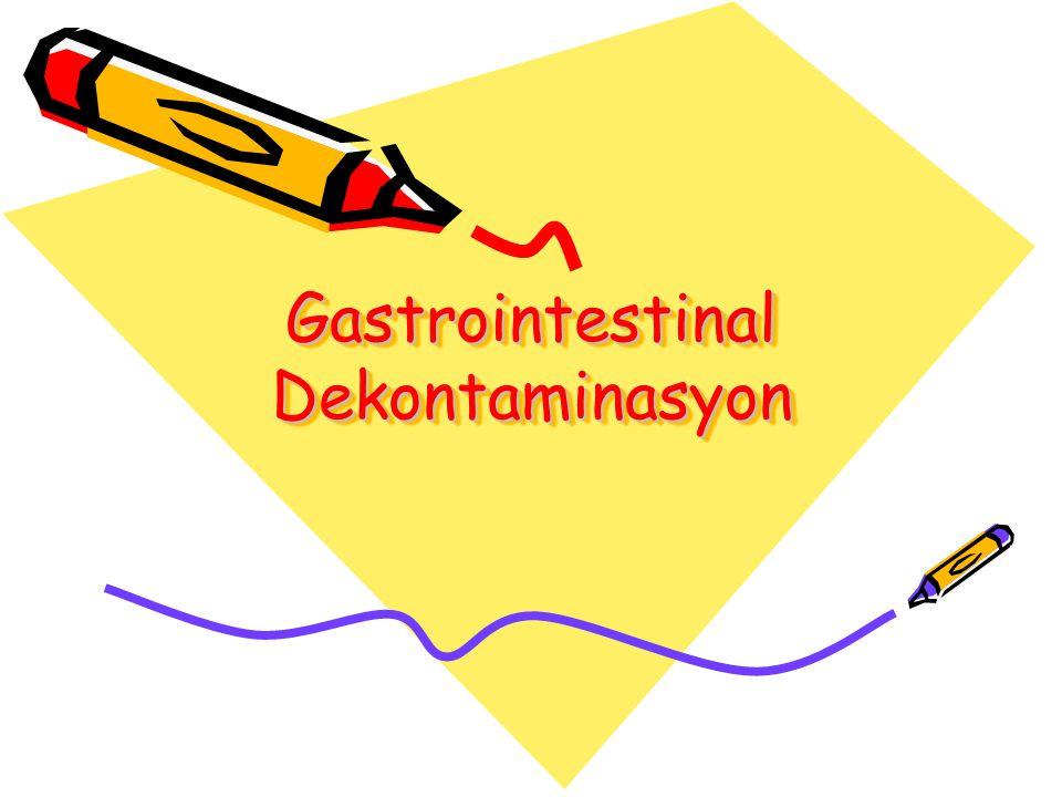Gastrointestinal dekontaminasyon oral yoldan zehirlenen hastaların başlangıç yönetiminde merkezi bir rol oynar Sıklıkla gerekli destek tedaviye ek olarak mevcut olan tek tedavidir
