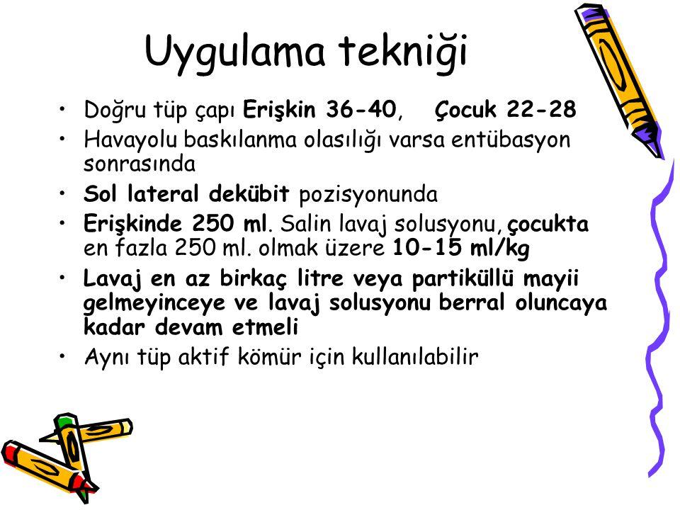 Uygulama tekniği Doğru tüp çapı Erişkin 36-40, Çocuk 22-28 Havayolu baskılanma olasılığı varsa entübasyon sonrasında Sol lateral dekübit pozisyonunda