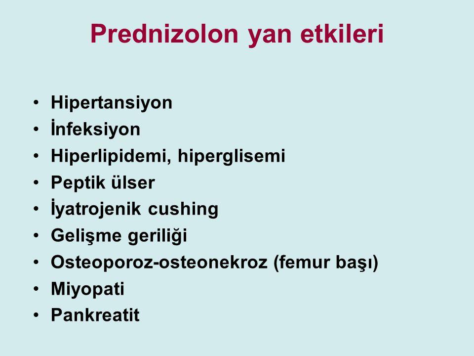 Prednizolon yan etkileri Hipertansiyon İnfeksiyon Hiperlipidemi, hiperglisemi Peptik ülser İyatrojenik cushing Gelişme geriliği Osteoporoz-osteonekroz