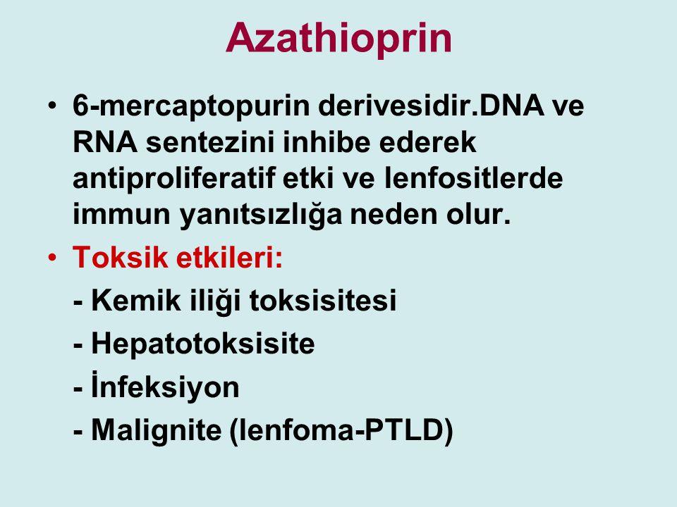 Azathioprin 6-mercaptopurin derivesidir.DNA ve RNA sentezini inhibe ederek antiproliferatif etki ve lenfositlerde immun yanıtsızlığa neden olur. Toksi