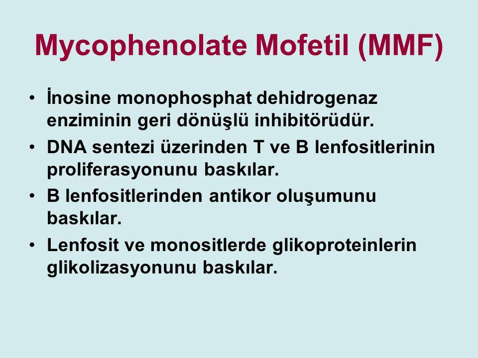 Mycophenolate Mofetil (MMF) İnosine monophosphat dehidrogenaz enziminin geri dönüşlü inhibitörüdür. DNA sentezi üzerinden T ve B lenfositlerinin proli