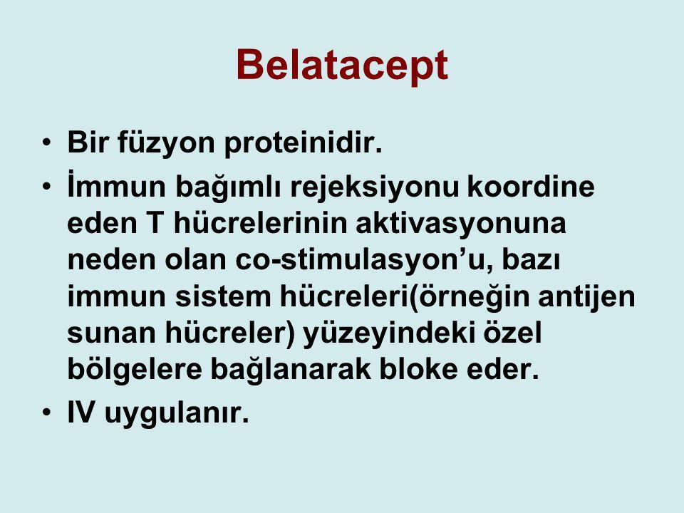 Belatacept Bir füzyon proteinidir. İmmun bağımlı rejeksiyonu koordine eden T hücrelerinin aktivasyonuna neden olan co-stimulasyon'u, bazı immun sistem
