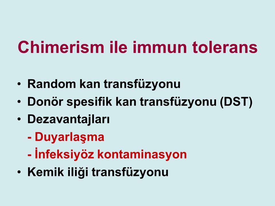Chimerism ile immun tolerans Random kan transfüzyonu Donör spesifik kan transfüzyonu (DST) Dezavantajları - Duyarlaşma - İnfeksiyöz kontaminasyon Kemi