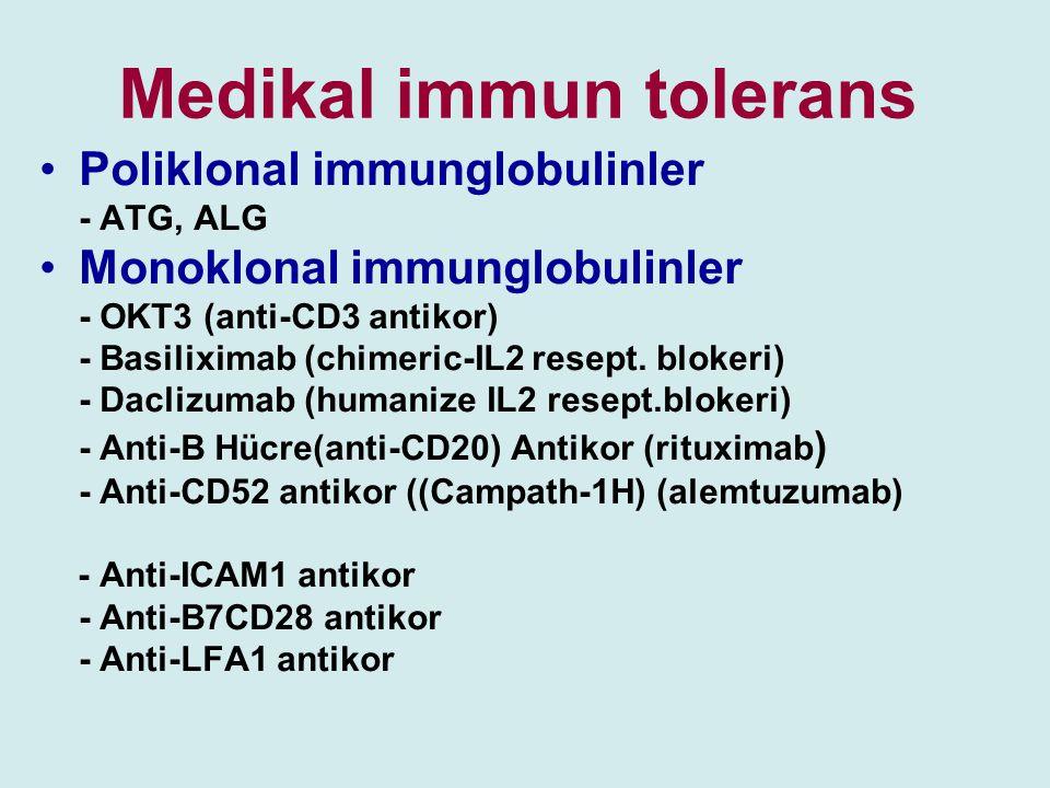 Medikal immun tolerans Poliklonal immunglobulinler - ATG, ALG Monoklonal immunglobulinler - OKT3 (anti-CD3 antikor) - Basiliximab (chimeric-IL2 resept