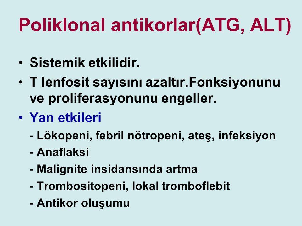Poliklonal antikorlar(ATG, ALT) Sistemik etkilidir. T lenfosit sayısını azaltır.Fonksiyonunu ve proliferasyonunu engeller. Yan etkileri - Lökopeni, fe