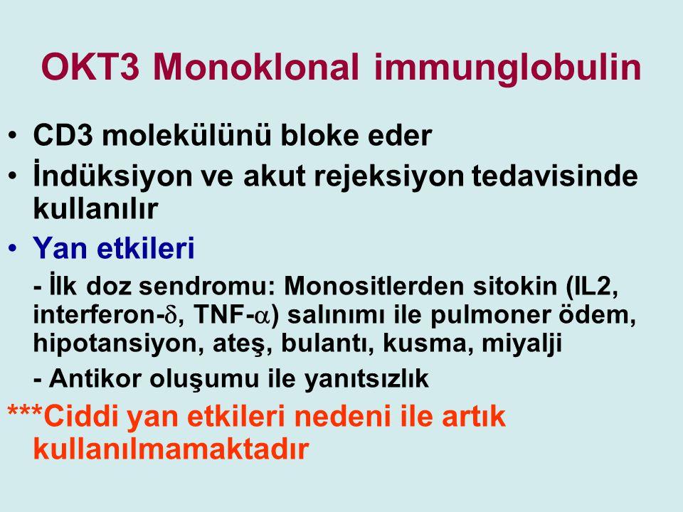 OKT3 Monoklonal immunglobulin CD3 molekülünü bloke eder İndüksiyon ve akut rejeksiyon tedavisinde kullanılır Yan etkileri - İlk doz sendromu: Monositl