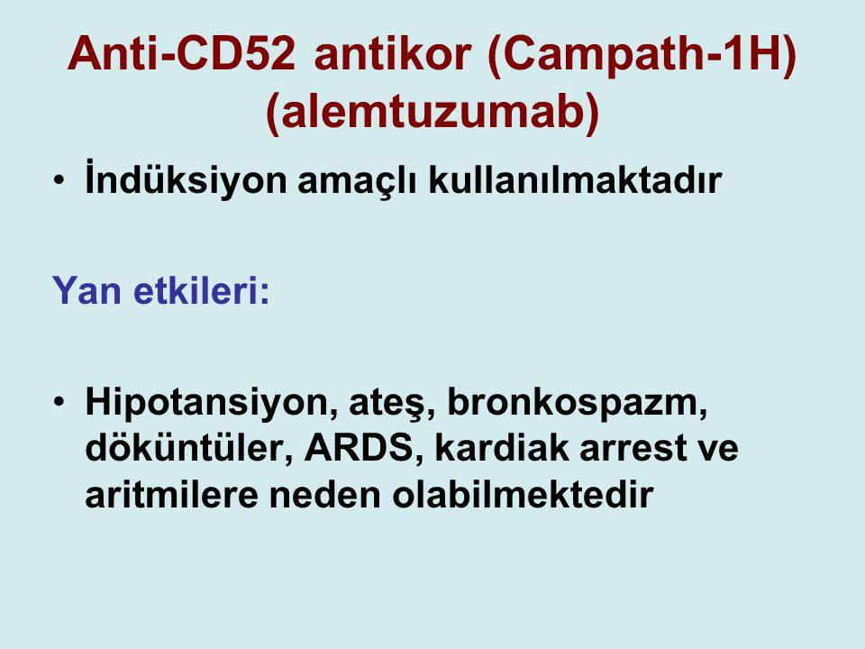 Anti-CD52 antikor (Campath-1H) (alemtuzumab) İndüksiyon amaçlı kullanılmaktadır Yan etkileri: Hipotansiyon, ateş, bronkospazm, döküntüler, ARDS, kardi