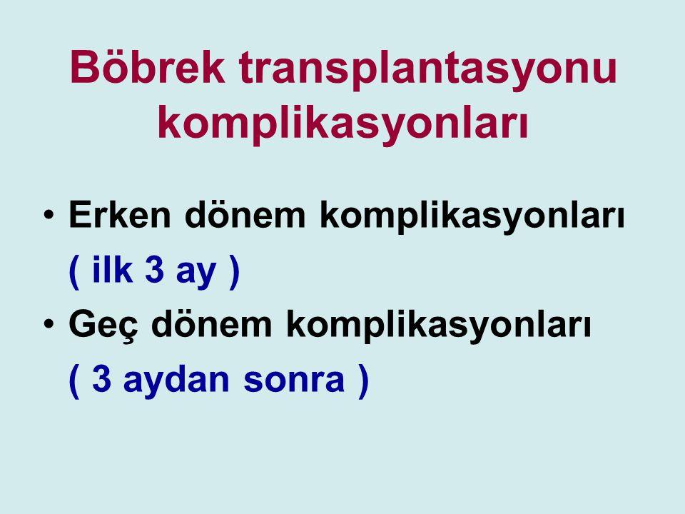 Böbrek transplantasyonu komplikasyonları Erken dönem komplikasyonları ( ilk 3 ay ) Geç dönem komplikasyonları ( 3 aydan sonra )