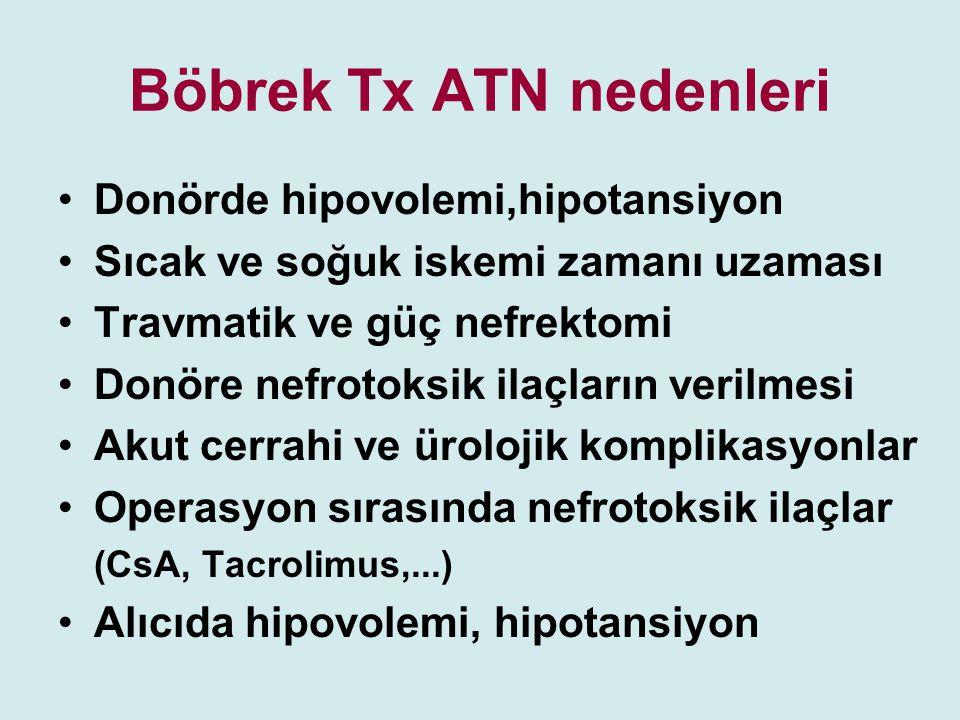 Böbrek Tx ATN nedenleri Donörde hipovolemi,hipotansiyon Sıcak ve soğuk iskemi zamanı uzaması Travmatik ve güç nefrektomi Donöre nefrotoksik ilaçların