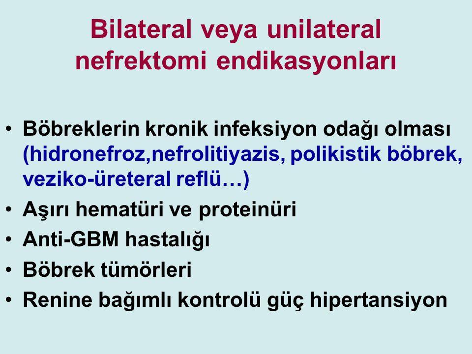 Bilateral veya unilateral nefrektomi endikasyonları Böbreklerin kronik infeksiyon odağı olması (hidronefroz,nefrolitiyazis, polikistik böbrek, veziko-