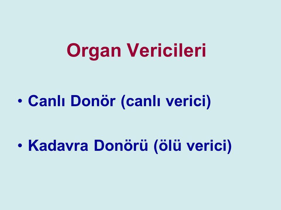 Organ Vericileri Canlı Donör (canlı verici) Kadavra Donörü (ölü verici)