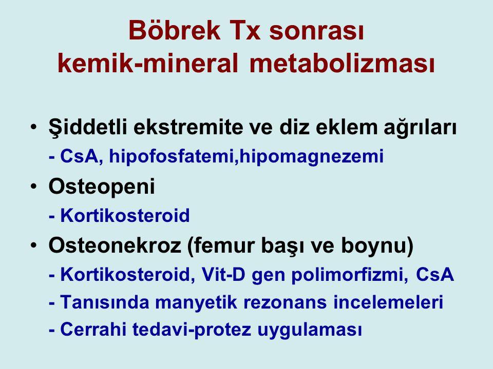 Böbrek Tx sonrası kemik-mineral metabolizması Şiddetli ekstremite ve diz eklem ağrıları - CsA, hipofosfatemi,hipomagnezemi Osteopeni - Kortikosteroid