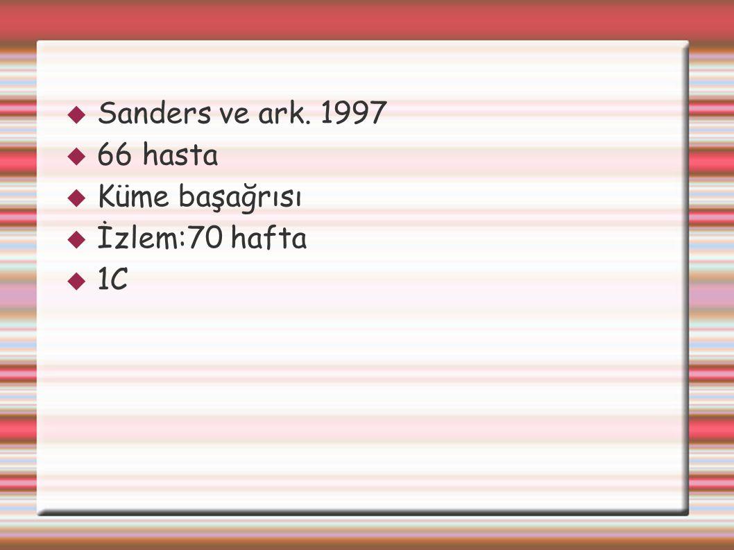  Sanders ve ark. 1997  66 hasta  Küme başağrısı  İzlem:70 hafta  1C