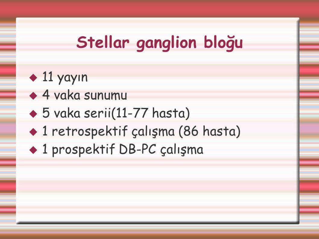 Stellar ganglion bloğu  11 yayın  4 vaka sunumu  5 vaka serii(11-77 hasta)  1 retrospektif çalışma (86 hasta)  1 prospektif DB-PC çalışma