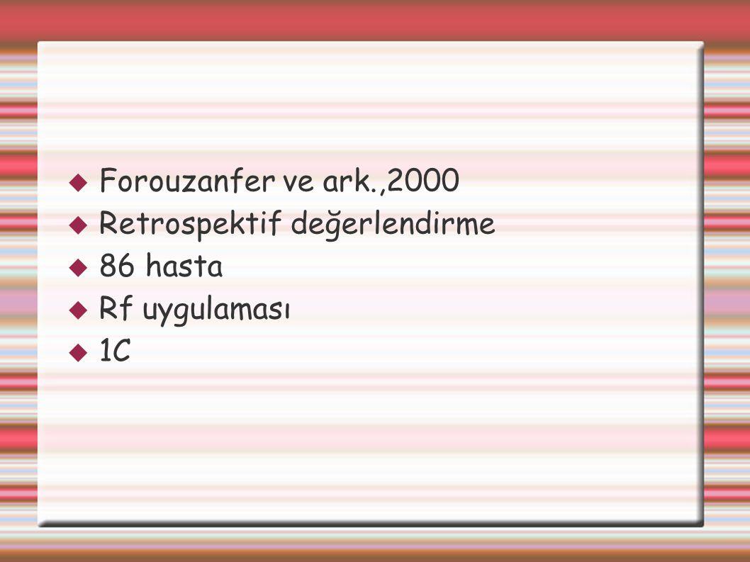  Forouzanfer ve ark.,2000  Retrospektif değerlendirme  86 hasta  Rf uygulaması  1C