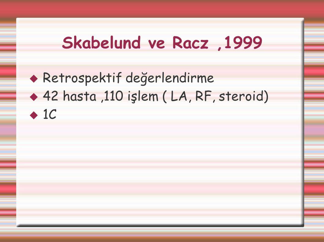 Skabelund ve Racz,1999  Retrospektif değerlendirme  42 hasta,110 işlem ( LA, RF, steroid)  1C