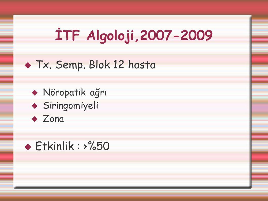 İTF Algoloji,2007-2009  Tx. Semp. Blok 12 hasta  Nöropatik ağrı  Siringomiyeli  Zona  Etkinlik : ›%50