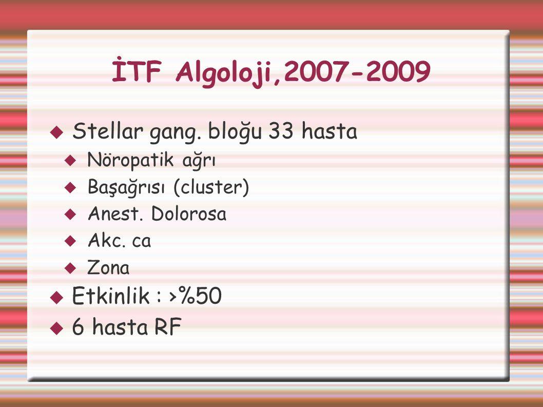 İTF Algoloji,2007-2009  Stellar gang. bloğu 33 hasta  Nöropatik ağrı  Başağrısı (cluster)  Anest. Dolorosa  Akc. ca  Zona  Etkinlik : ›%50  6