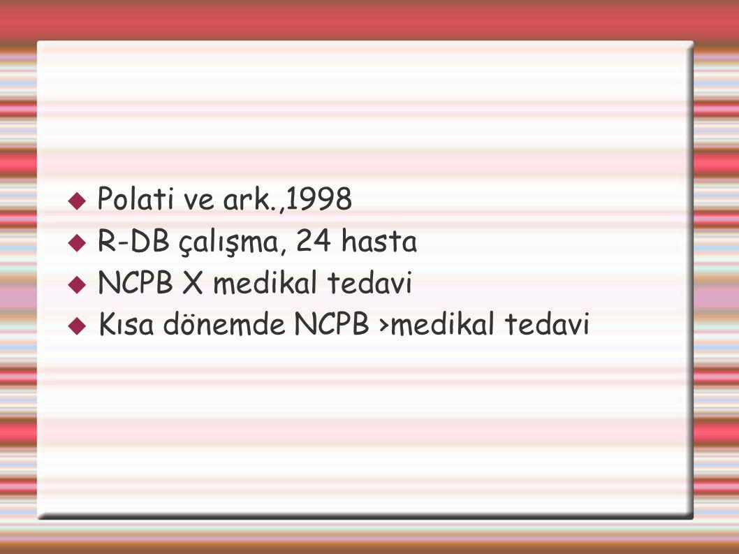  Polati ve ark.,1998  R-DB çalışma, 24 hasta  NCPB X medikal tedavi  Kısa dönemde NCPB ›medikal tedavi