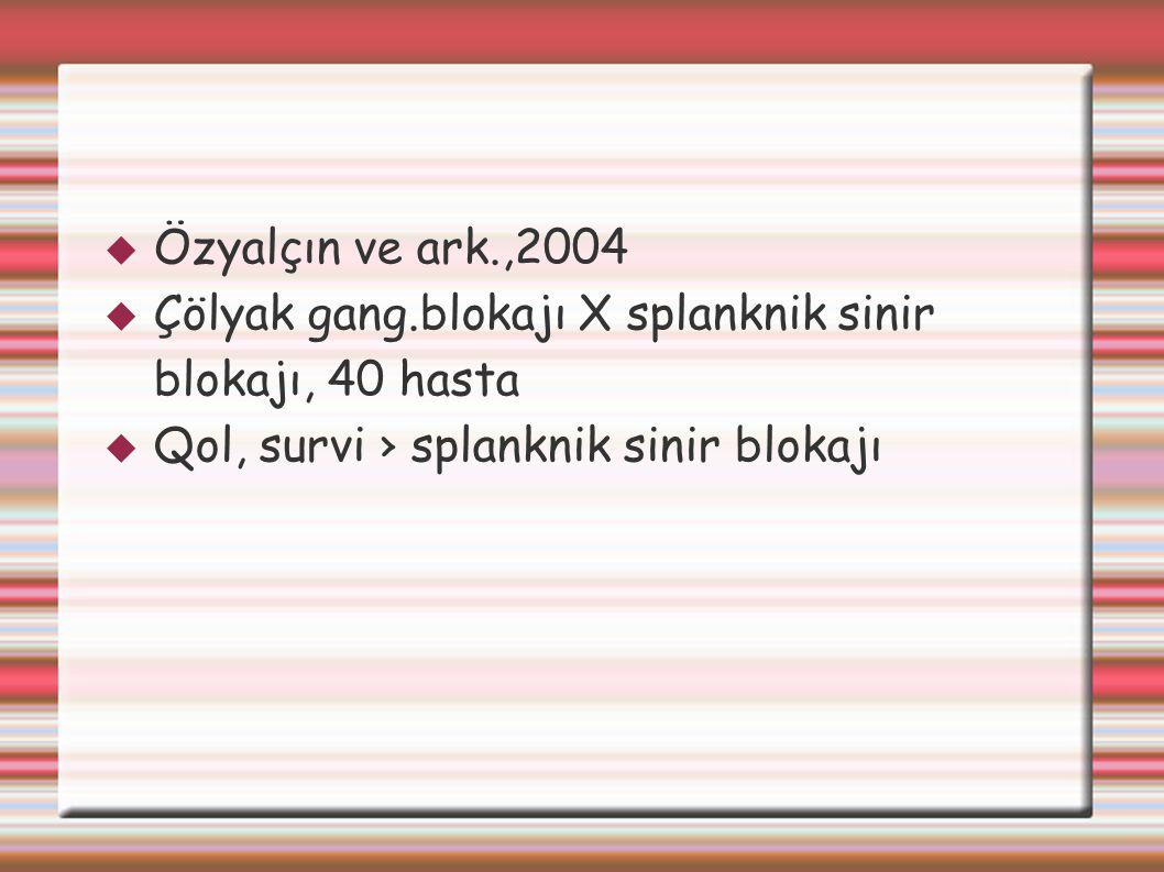  Özyalçın ve ark.,2004  Çölyak gang.blokajı X splanknik sinir blokajı, 40 hasta  Qol, survi › splanknik sinir blokajı
