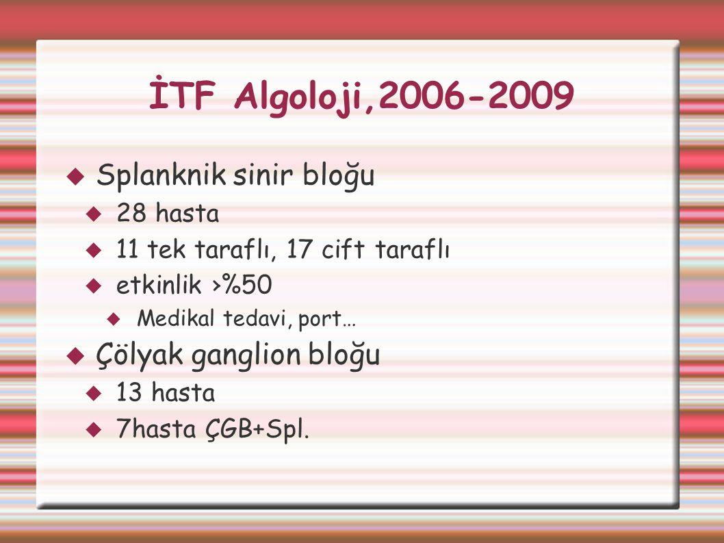 İTF Algoloji,2006-2009  Splanknik sinir bloğu  28 hasta  11 tek taraflı, 17 cift taraflı  etkinlik ›%50  Medikal tedavi, port…  Çölyak ganglion