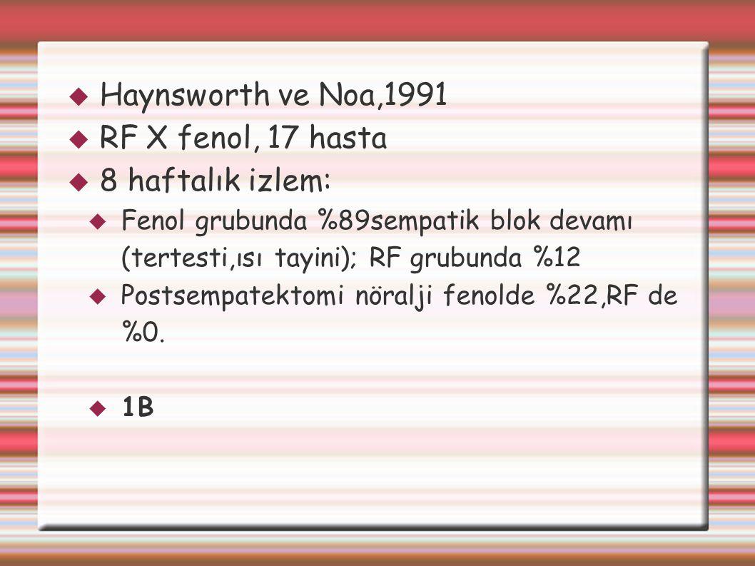  Haynsworth ve Noa,1991  RF X fenol, 17 hasta  8 haftalık izlem:  Fenol grubunda %89sempatik blok devamı (tertesti,ısı tayini); RF grubunda %12 