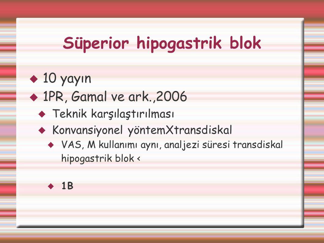 Süperior hipogastrik blok  10 yayın  1PR, Gamal ve ark.,2006  Teknik karşılaştırılması  Konvansiyonel yöntemXtransdiskal  VAS, M kullanımı aynı,