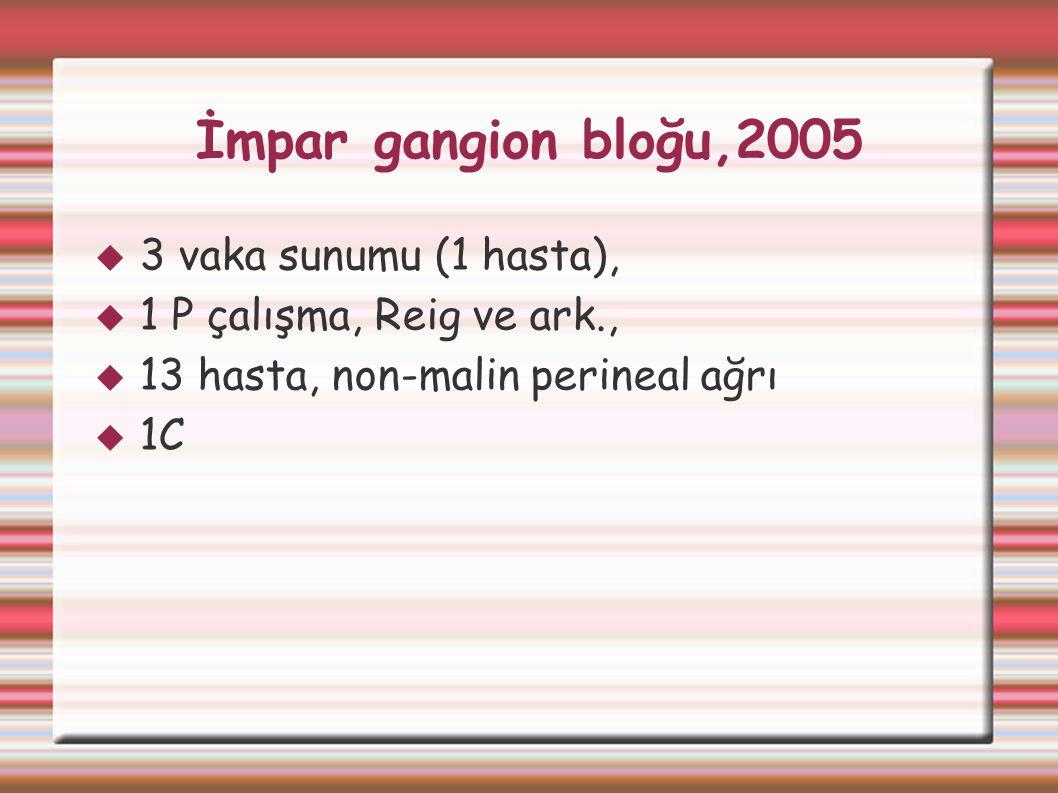 İmpar gangion bloğu,2005  3 vaka sunumu (1 hasta),  1 P çalışma, Reig ve ark.,  13 hasta, non-malin perineal ağrı  1C