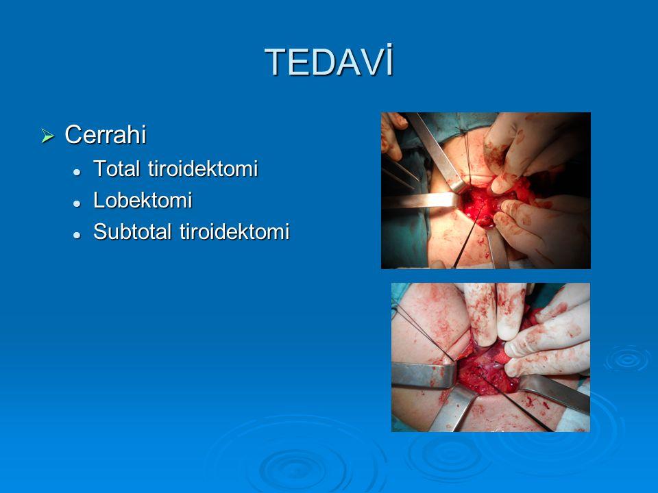TEDAVİ  Cerrahi Total tiroidektomi Total tiroidektomi Lobektomi Lobektomi Subtotal tiroidektomi Subtotal tiroidektomi