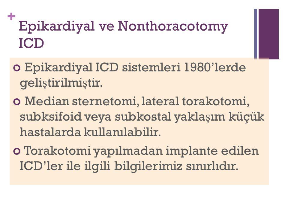 + Epikardiyal ve Nonthoracotomy ICD Epikardiyal ICD sistemleri 1980'lerde geli ş tirilmi ş tir.