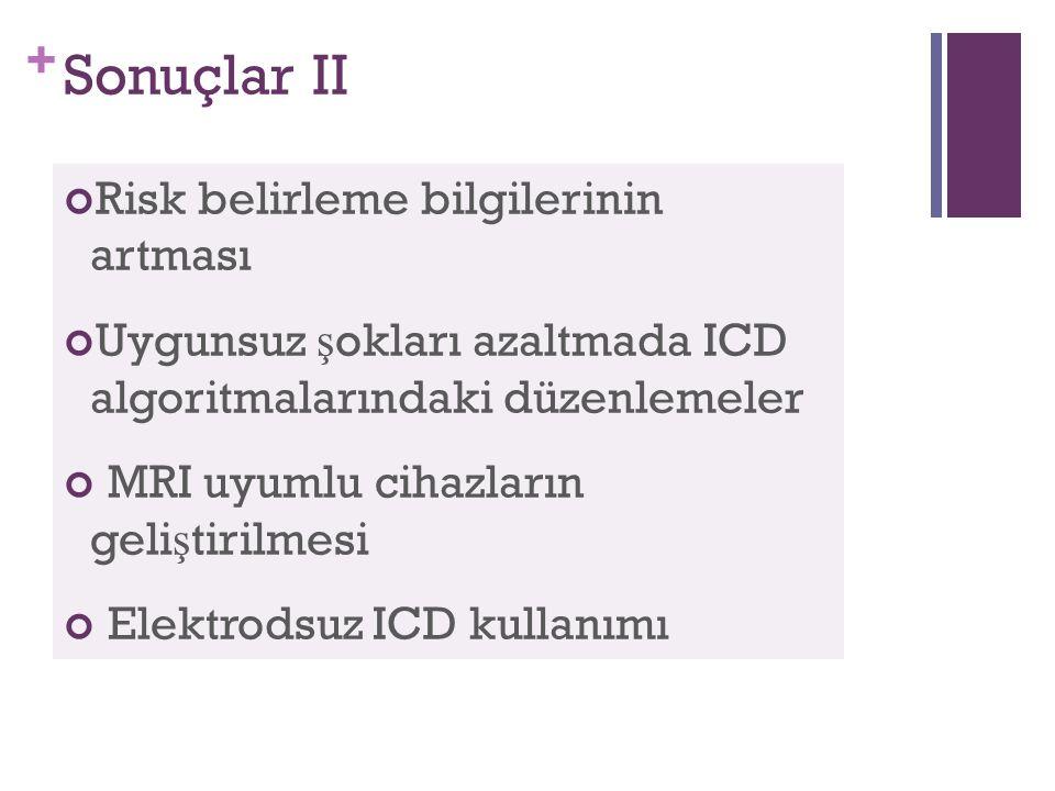 + Sonuçlar II Risk belirleme bilgilerinin artması Uygunsuz ş okları azaltmada ICD algoritmalarındaki düzenlemeler MRI uyumlu cihazların geli ş tirilmesi Elektrodsuz ICD kullanımı