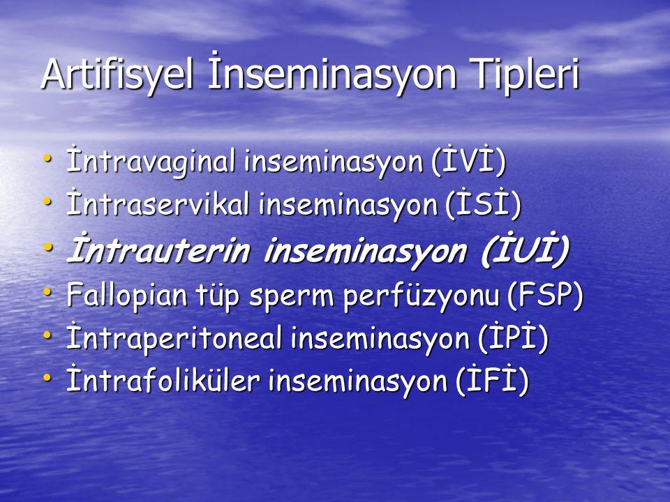 Artifisyel İnseminasyon Tipleri İntravaginal inseminasyon (İVİ) İntravaginal inseminasyon (İVİ) İntraservikal inseminasyon (İSİ) İntraservikal insemin