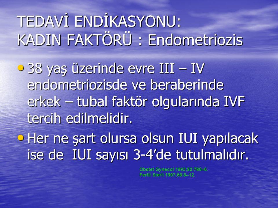 TEDAVİ ENDİKASYONU: KADIN FAKTÖRÜ : Endometriozis 38 yaş üzerinde evre III – IV endometriozisde ve beraberinde erkek – tubal faktör olgularında IVF te