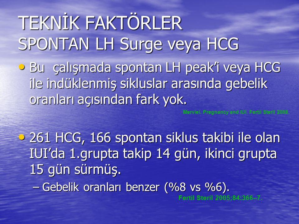 TEKNİK FAKTÖRLER SPONTAN LH Surge veya HCG Bu çalışmada spontan LH peak'i veya HCG ile indüklenmiş sikluslar arasında gebelik oranları açısından fark