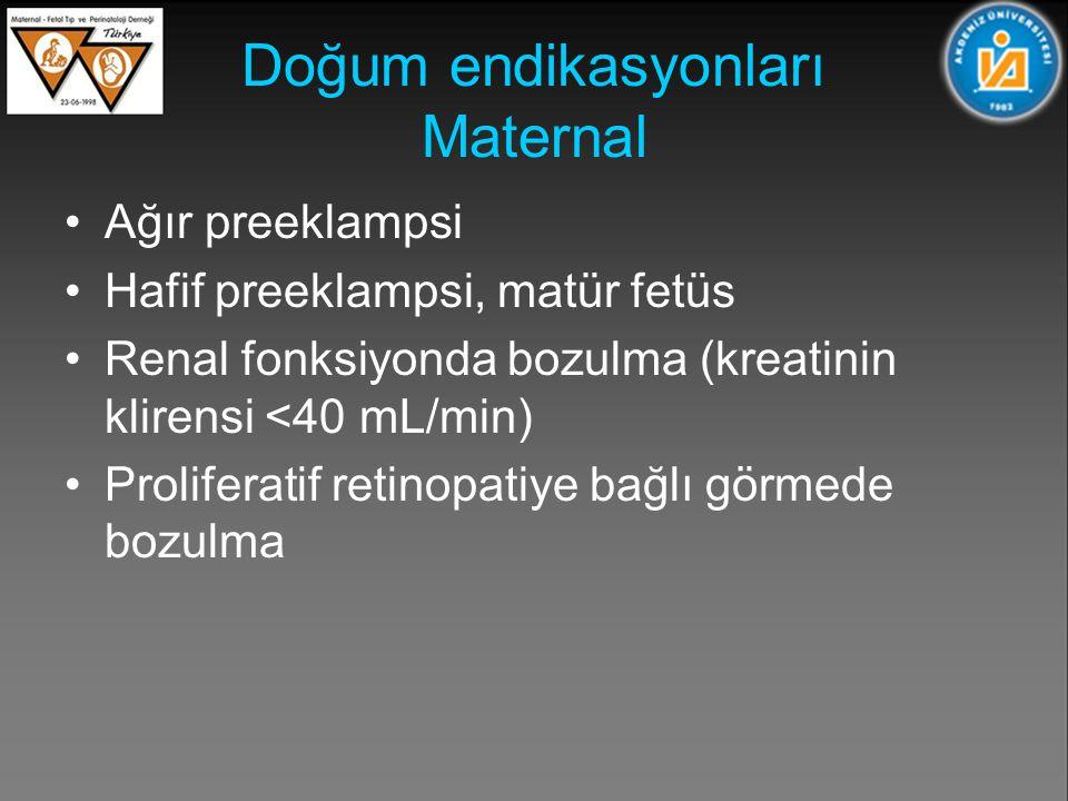 Doğum endikasyonları Maternal Ağır preeklampsi Hafif preeklampsi, matür fetüs Renal fonksiyonda bozulma (kreatinin klirensi <40 mL/min) Proliferatif retinopatiye bağlı görmede bozulma