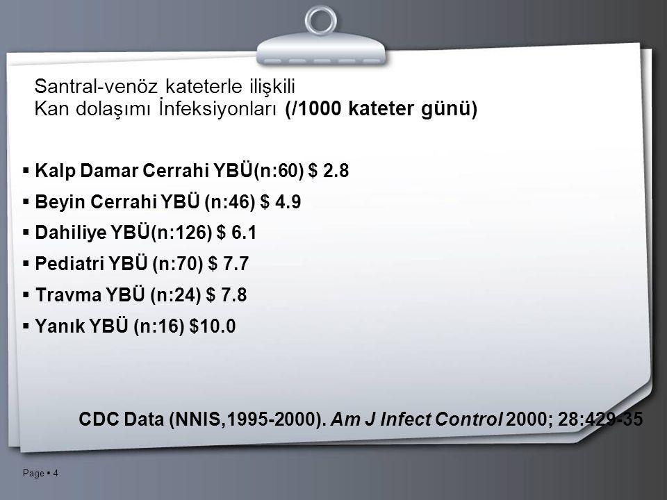 Page  4 Santral-venöz kateterle ilişkili Kan dolaşımı İnfeksiyonları (/1000 kateter günü)  Kalp Damar Cerrahi YBÜ(n:60) $ 2.8  Beyin Cerrahi YBÜ (n:46) $ 4.9  Dahiliye YBÜ(n:126) $ 6.1  Pediatri YBÜ (n:70) $ 7.7  Travma YBÜ (n:24) $ 7.8  Yanık YBÜ (n:16) $10.0 CDC Data (NNIS,1995-2000).