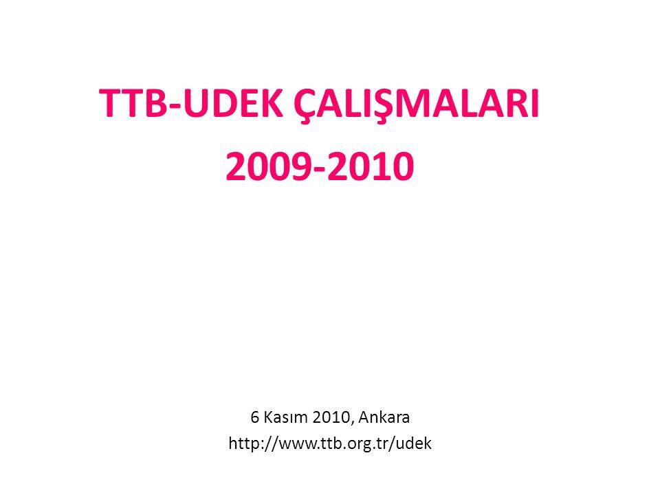 TTB-UDEK ÇALIŞMALARI 2009-2010 6 Kasım 2010, Ankara http://www.ttb.org.tr/udek