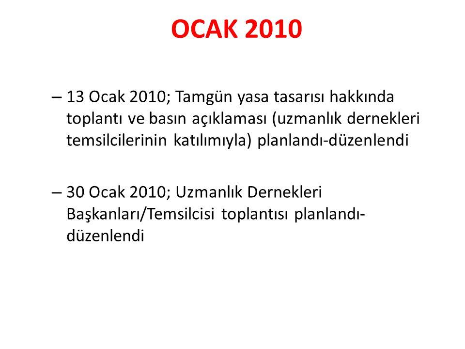 OCAK 2010 – 13 Ocak 2010; Tamgün yasa tasarısı hakkında toplantı ve basın açıklaması (uzmanlık dernekleri temsilcilerinin katılımıyla) planlandı-düzenlendi – 30 Ocak 2010; Uzmanlık Dernekleri Başkanları/Temsilcisi toplantısı planlandı- düzenlendi