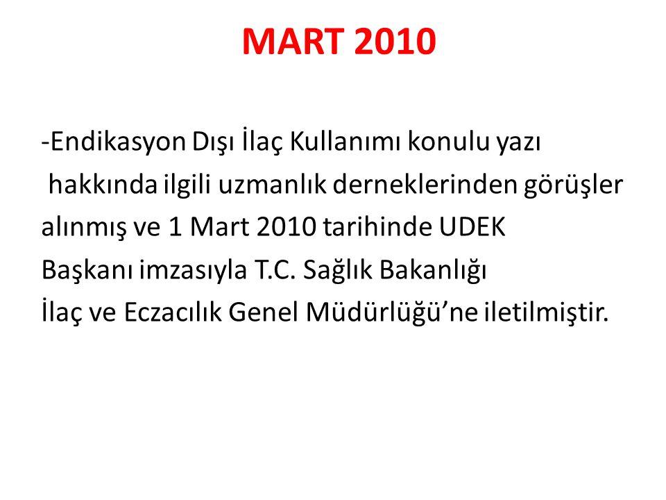 MART 2010 -Endikasyon Dışı İlaç Kullanımı konulu yazı hakkında ilgili uzmanlık derneklerinden görüşler alınmış ve 1 Mart 2010 tarihinde UDEK Başkanı imzasıyla T.C.