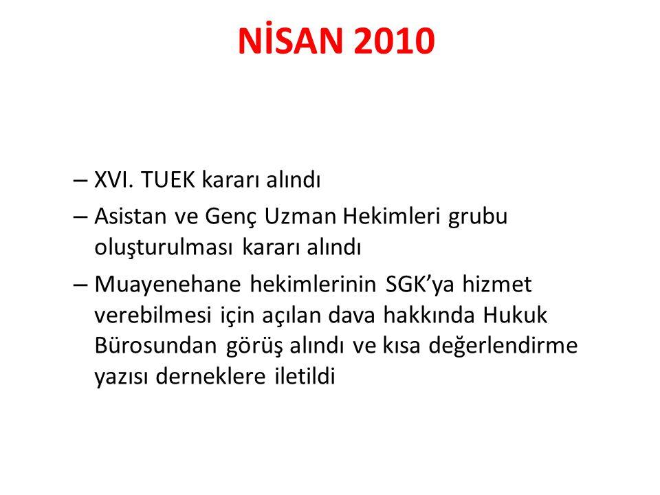 NİSAN 2010 – XVI. TUEK kararı alındı – Asistan ve Genç Uzman Hekimleri grubu oluşturulması kararı alındı – Muayenehane hekimlerinin SGK'ya hizmet vere
