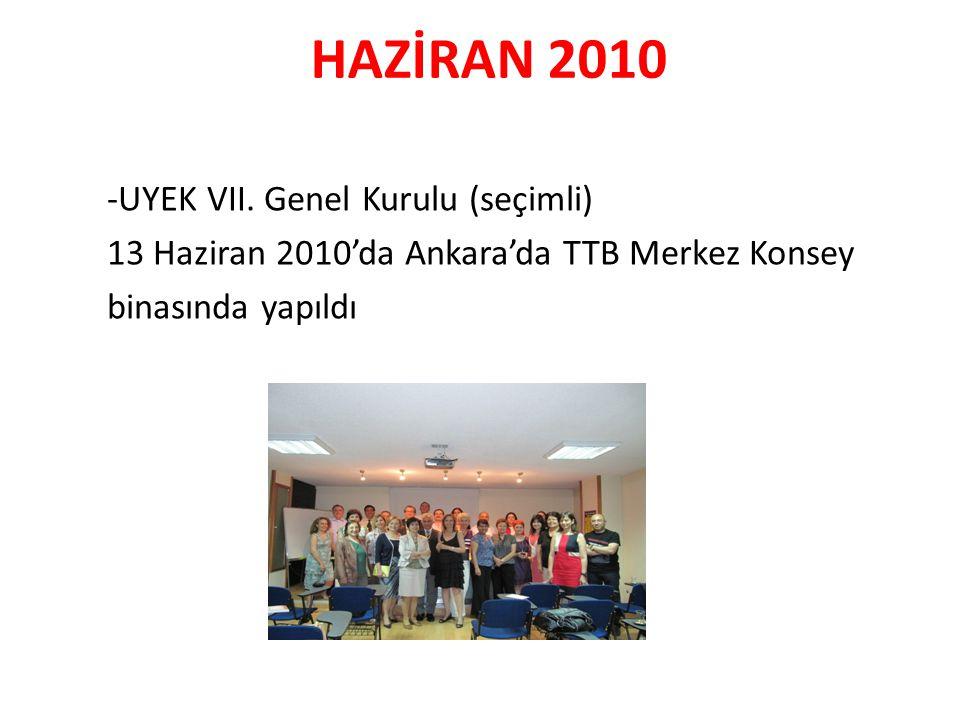 HAZİRAN 2010 -UYEK VII. Genel Kurulu (seçimli) 13 Haziran 2010'da Ankara'da TTB Merkez Konsey binasında yapıldı