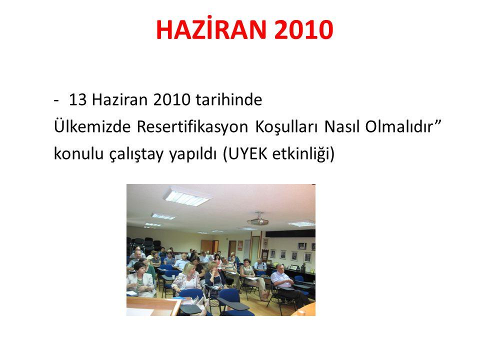 HAZİRAN 2010 -13 Haziran 2010 tarihinde Ülkemizde Resertifikasyon Koşulları Nasıl Olmalıdır konulu çalıştay yapıldı (UYEK etkinliği)