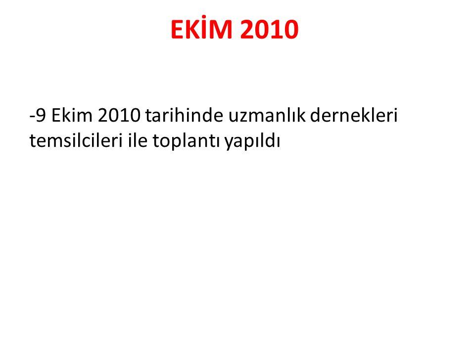 EKİM 2010 -9 Ekim 2010 tarihinde uzmanlık dernekleri temsilcileri ile toplantı yapıldı